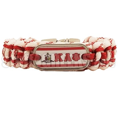 Kappa Alpha Psi Braided Sports Bracelet, White/Red - Allow 4-6 Weeks Production Time