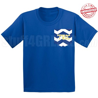 Tau Beta Sigma Chevron Faux Pocket T-Shirt - EMBROIDERED with Lifetime Guarantee
