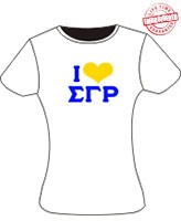 I Love Sigma Gamma Rho Ladies Tee, White - EMBROIDERED with Lifetime Guarantee