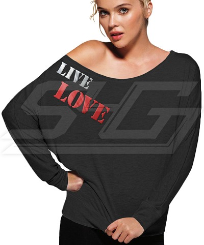 Personalized Long Sleeve Off Shoulder Shirt with Metallic Twill Embroidery