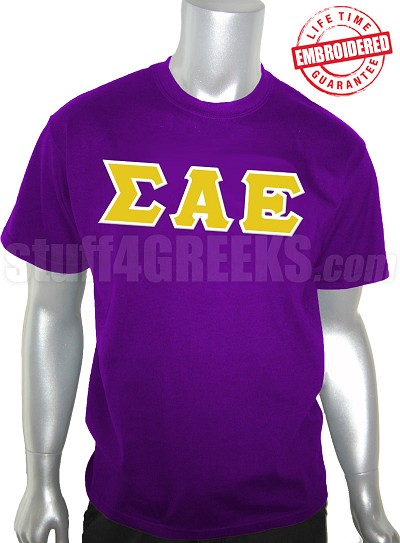 Sigma Alpha Epsilon Greek Letter T-Shirt, Purple - EMBROIDERED with Lifetime Guarantee