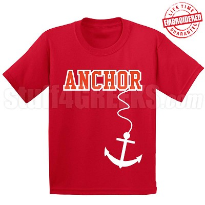 Anchor T-Shirt, Red/White - EMBROIDERED with Lifetime Guarantee
