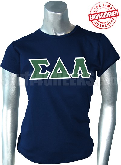 Sigma Delta Lambda Greek Letter T-Shirt, Navy Blue - EMBROIDERED with Lifetime Guarantee