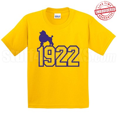 Poodle on 1922 T-Shirt, Gold - EMBROIDERED with Lifetime Guarantee