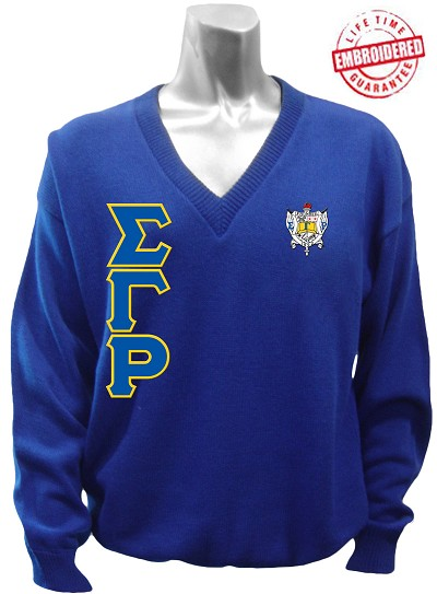 Sigma Gamma Rho Greek Letter V-Neck Sweater with Crest, Royal Blue