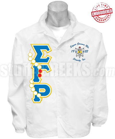Sigma Gamma Rho Greek Letter Line Jacket with Pearls Thru and Embellished Crest, White