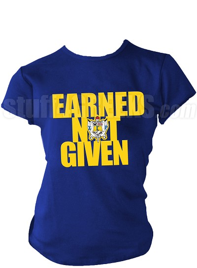"Sigma Gamma Rho ""Earned Not Given"" Screen Printed T-Shirt, Royal Blue"