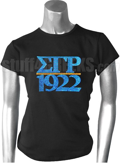 Sigma Gamma Rho Greek Letter Metallic Stone Stud T-Shirt with Founding Year, Black