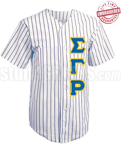 Sigma Gamma Rho Cloth Pinstripe Baseball Jersey with Greek Letters (TW) - EMBROIDERED WITH LIFETIME GUARANTEE