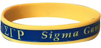 Sigma Gamma Rho Greek Letter Silicon Wristband with Organization Name, Royal Blue/Gold (G2222)