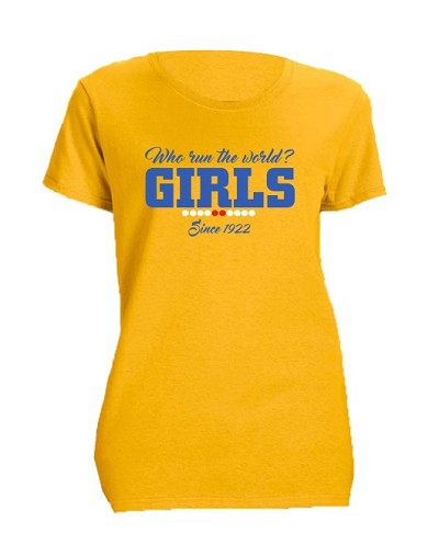 Sigma Gamma Rho Girls Run The World Screen Printed T-Shirt, Gold