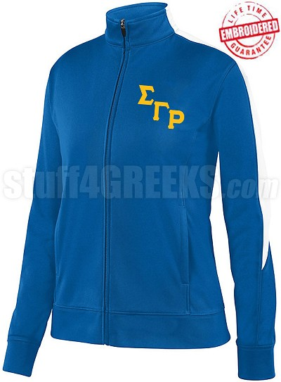 Sigma Gamma Rho Logo Track Jacket, Royal/White (AUG)