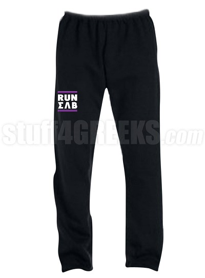 Sigma Lambda Beta Run DMC Screen Printed Sweatpants, Black (AB)