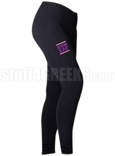 Sigma Lambda Gamma Run DMC Screen Printed Athletic Leggings, Black (BC)