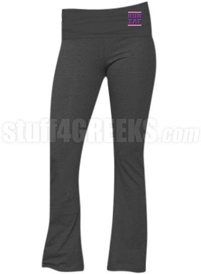 Sigma Lambda Gamma Run DMC Screen Printed Yoga Pants, Charcoal (BC)