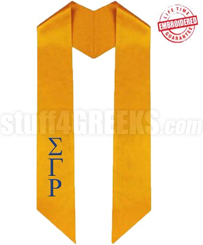 Custom Diagonally Cut Satin Graduation Stole (OTHER COLORS AVAILABLE) - EMBROIDERED with Lifetime Guarantee