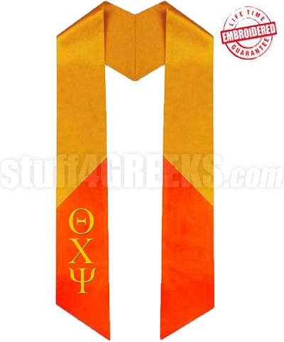Custom Diagonally Cut, Two-Toned Satin Graduation Stole (OTHER COLORS AVAILABLE) - EMBROIDERED with Lifetime Guarantee