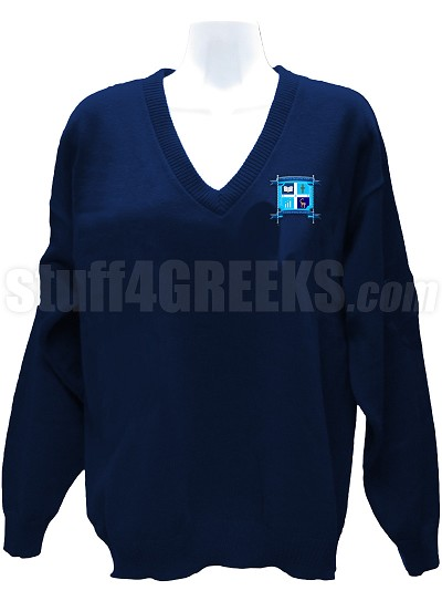 Alpha Beta Sigma V-Neck Sweater with Crest, Navy Blue