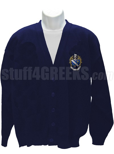Alpha Gamma Omega Cardigan Sweater with Crest, Navy Blue