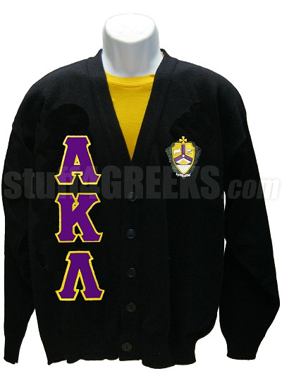 Alpha Kappa Lambda Cardigan with Greek Letters and Crest, Black