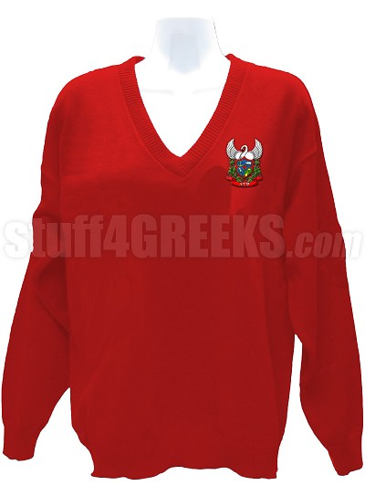 Alpha Sigma Rho V-Neck Sweater with Crest, Red