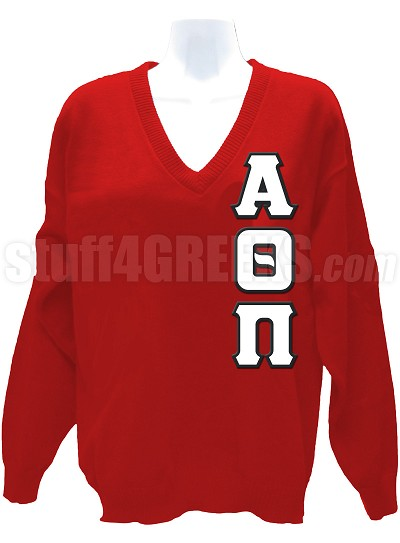 Alpha Theta Pi V-Neck Sweater with Greek Letters, Red