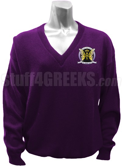 Beta Phi Sigma V-Neck Sweater with Crest, Purple