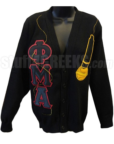 Phi Mu Alpha Geek Letter Cardigan with Microphone, Black