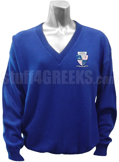 Delta Phi Mu V-Neck Sweater with Crest, Royal Blue