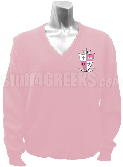 Gamma Pi V-Neck Sweater with Crest, Pink