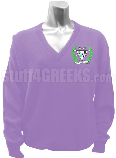 Lambda Beta Chi V-Neck Sweater with Crest, Lavender