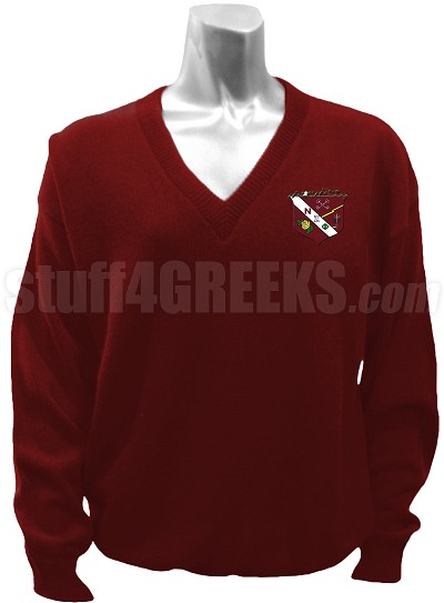 Nu Zeta Phi V-Neck Sweater with Crest, Burgundy