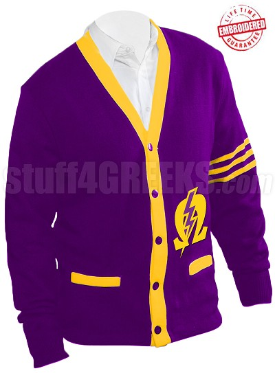Omega Psi Phi Pearl Omega Cardigan with Lightening Bolt, Purple/Gold (A+)
