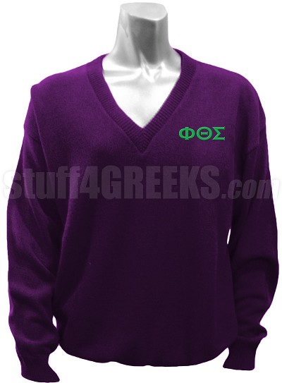 Phi Theta Sigma V-Neck Sweater with Greek Letters, Purple