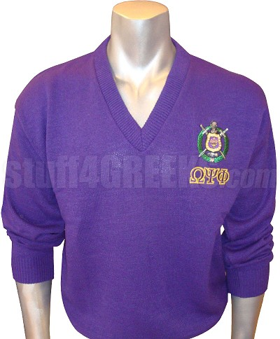Purple Omega Psi Phi V-Neck Sweater with Letters Under Crest