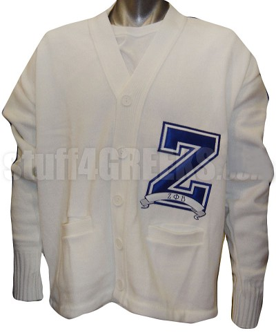 "White Zeta Phi Beta Varsity Letter Cardigan with Large ""Z"""