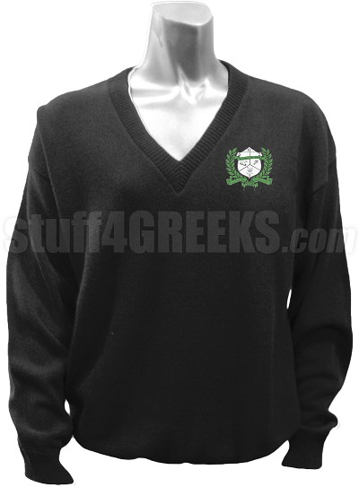 Sigma Omega Phi V-Neck Sweater with Crest, Black