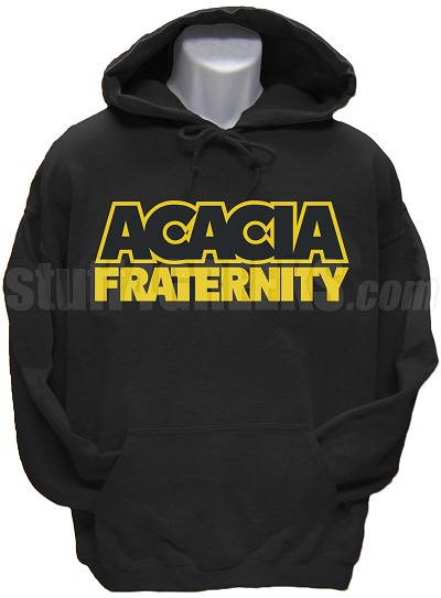 Acacia Pullover Hoodie Sweatshirt with Organization Name, Black