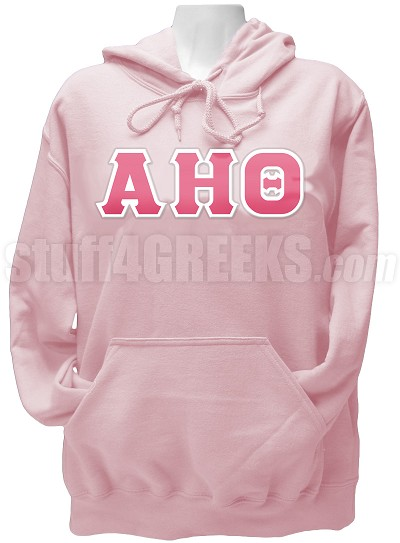 Alpha Eta Theta Greek Letter Pullover Hoodie Sweatshirt, Light Pink