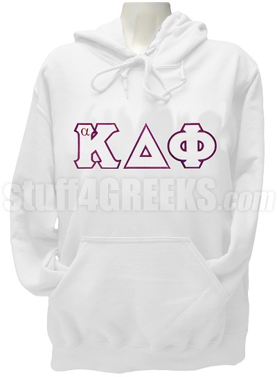 alpha Kappa Delta Phi Pullover Hoodie Sweatshirt with Greek Letters, White