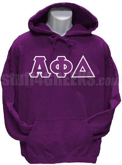 Alpha Phi Delta Greek Letter Pullover Hoodie Sweatshirt, Purple
