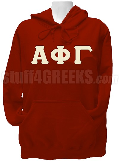 Alpha Phi Gamma Greek Letter Pullover Hoodie Sweatshirt, Ruby Red