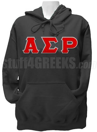 Alpha Sigma Rho Greek Letter Pullover Hoodie Sweatshirt, Black