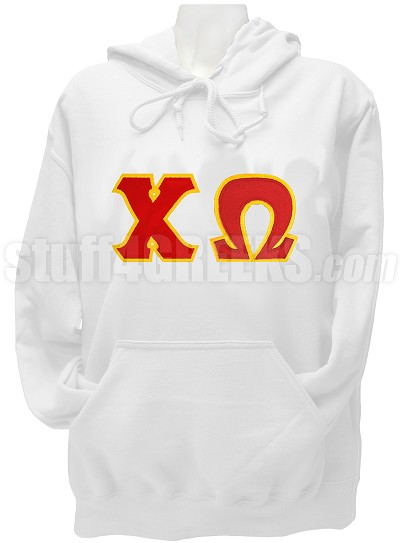 Chi Omega Pullover Hoodie Sweatshirt with Greek Letters, White