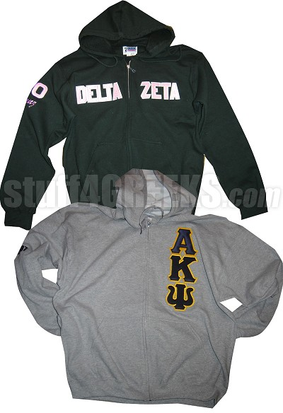 Custom Greek Zip-Up Hoodie Sweatshirt with Sewn-On Letters - Includes Lifetime Embroidery Guarantee