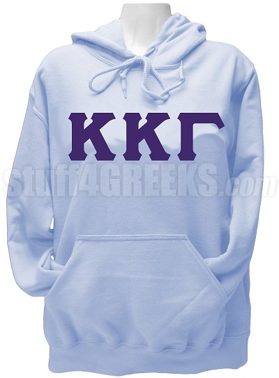 Kappa Kappa Gamma Greek Letter Pullover Hoodie Sweatshirt, Light Blue