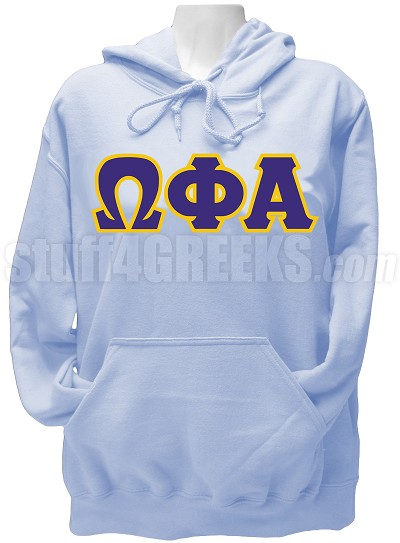 Omega Phi Alpha Greek Letter Pullover Hoodie Sweatshirt, Light Blue
