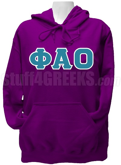 Phi Alpha Omicron Greek Letter Pullover Hoodie Sweatshirt, Purple