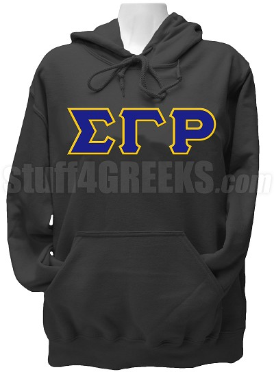 Sigma Gamma Rho Greek Letter Hoodie Sweatshirt, Black