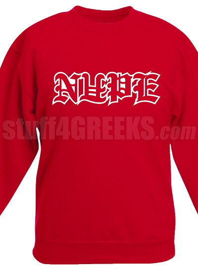 Nupe Crew Neck Sweatshirt with Old English Letters, Red
